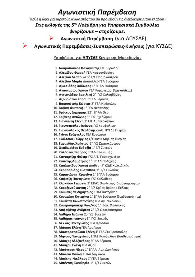 Ψηφοδέλτιο ΑΠΥΣΔΕ ΚΥΣΔΕ Κ ΜΑΚΕΔΟΝΙΑΣ 2014
